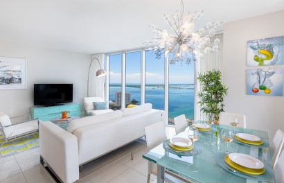Unobstructed Bay Views from Redesigned Corner Apartment at W Hotel Residences, Brickell, Miami